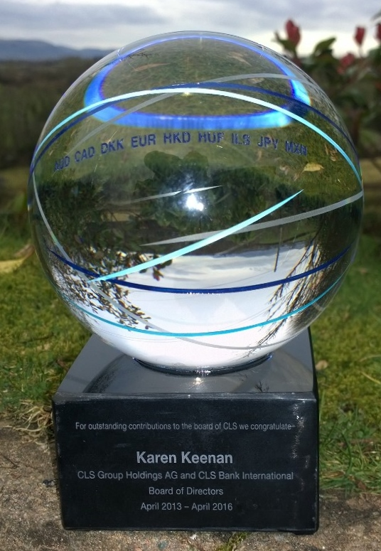 150mm dia glass Globe - engraved and colour infill - on a marble base